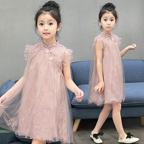 Mädchen Prinzessin Kleid Chinesischen Cheongsam kinder Casual Kleidung Kinder Chiffon Perle Spitze Mädchen Party Urlaub Kleider 6~10 Jahre alt