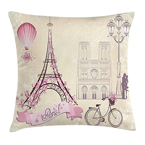 Jxrodekz Kiss Throw Pillow Cushion Cover Floral Paris Symbols Landmarks Eiffel Tower Hot Air Balloon Bicycle Romantic CoupleIvory Pink