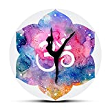Gghhi Acuarela hindú Om Símbolo Reloj de Pared Moderno Chica de Yoga Om Reloj de Pared...