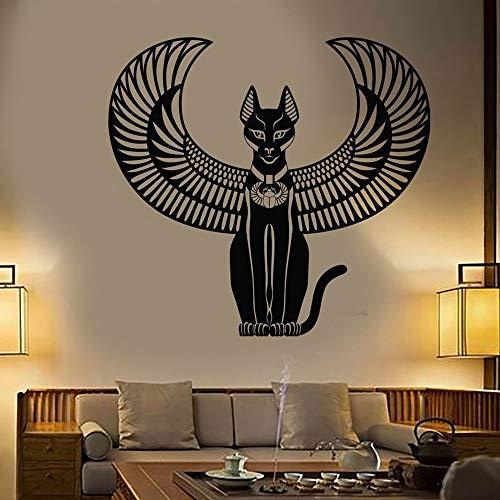 jiushivr Vinyl Wandaufkleber Abziehbilder Schlafzimmer Dekoration Alte Ägyptische Katze Göttin Von Ägypten Wandtattoo Wandbild Wohnzimmer 57x61cm