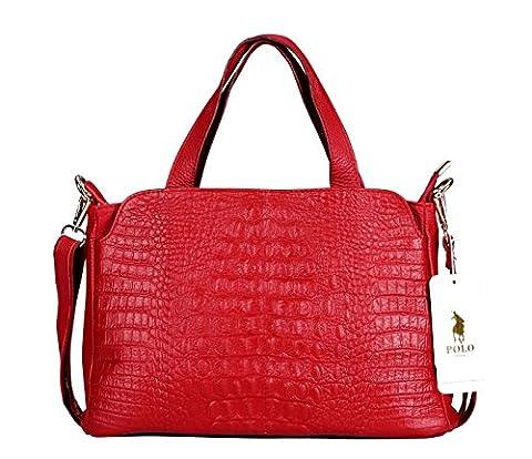 VIDENG POLO Genuine Leather Crocodile Printed Handbag Shoulder Bag Satchel for Women (Red-plw2)