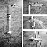 OLEAH Thermostat Regendusche Duschset Chrom eckig Duschsystem Duscharmatur Regenbrause Überkopfbrause Duschkopf Handbrause Rainshower Brausestange für Badzimmer