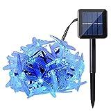 Qedertek Luci Natalizi da Esterno 4.8M 20 LED illuminazione Solare Addobbi Natalizi Decorazione Albero di Natale Luci Catena Luminosa Decorativa per Giardino Patio( Blu)