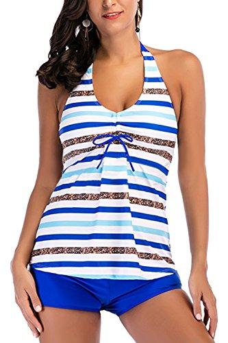 d7355d6f5ddef Hungo Damen Tankini mit Hotpant Push Up Bademode Frauen Badeanzug Swimwear  Swimsuit