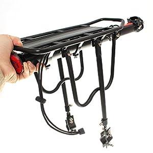 OUTERDO Portaequipajes para Bicicleta Aleación de Aluminio con Reflector (Se Adapta a: Diametro de la Silla de Montar <33MM)