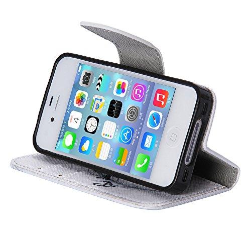 Chreey Coque Apple Iphone 4 / 4S (3.5 pouces) ,PU Cuir Portefeuille Etui Housse Case Cover ,carte de crédit pour , serrures magnétiques, support pliable, idéal pour protéger votre téléphone Belle journée