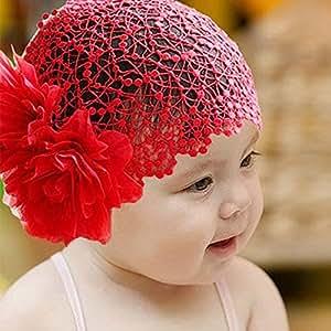 Fairy Season- Bambina Capelli Accessori di Merletto Fiore Fiocco Fascia per Capelli 2 Colori da Scegliere (Rosso)