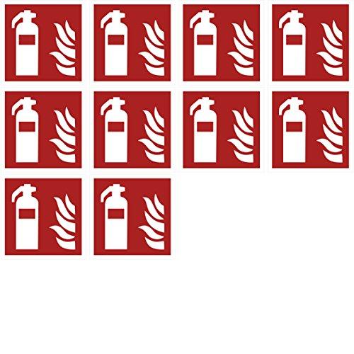 10 Feuerlöscher Aufkleber - Aufkleber Feuerlöscher vorgestanzt, selbstklebend, Feuerlöscher Schild überkleben, Sicherheitskennzeichen Zubehör Warnzeichen-Feuerlöscher Brandschutzzeichen-Aufkleber 7010 (Aufkleber Kfz-zubehör)