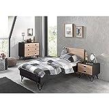 Lomadox Jugendzimmer Set massiv schwarz, Birke massiv lackiert, 90x200 cm Jugendbett mit Nachttisch und Schubkasten-Kommode