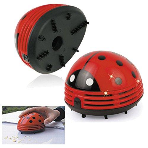STRIR Mini Aspirador de Polvo de Limpiador del Escritorio de Diseño de Estampado de Mariquita Roja