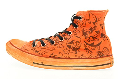 CONVERSE scarpe unisex sneakers alte 156895C ORANGE PRINT SHARK Arancione
