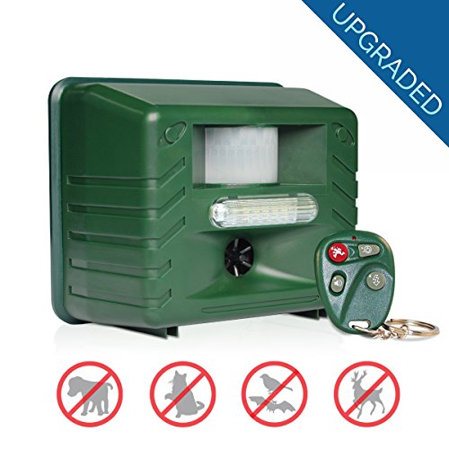 Yard Sentinel RC Ultrasonic Animal Pest Repeller with Motion Detector, 4 Key Remote, Strobe & Sonic Predator Sound (UK Plug)