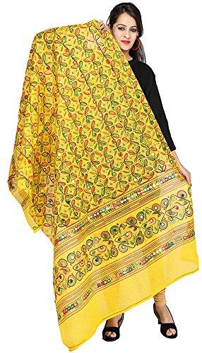 Banjara Women's Kutch Work Dupatta - Rasna (Lemon Yellow)
