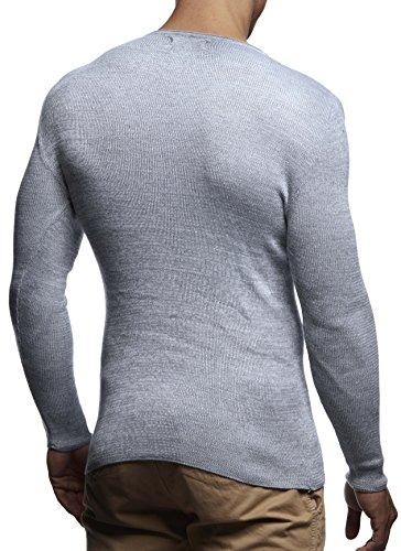 7ffb207ae1e7 LEIF NELSON Herren Pullover Strickpullover Hoodie Basic Rundhals Crew Neck  Sweatshirt longsleeve langarm Sweater Feinstrick LN1590