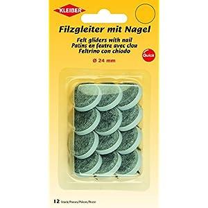 Kleiber Filzgleiter mit Nagel Ø=24mm, Polyester/Kunststoff, grau, 2,4 x 2,4 x 1,5 cm