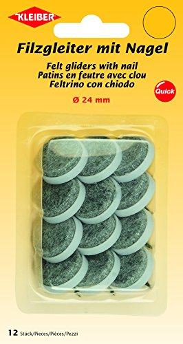 Kleiber Filzgleiter mit Nagel Durchmesser 24mm, Polyester/Kunststoff, grau, 2,4 x 2,4 x 1,5 cm