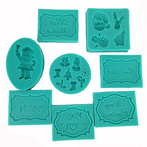 Garwarm Assorted Christmas greetings Silicone Candy mold for Sugarcraft, Chocolate, Fondant, Resin, Polymer Clay, Soap Making,8 Pieces by (Cupcakes Halloween Für Selbstgemacht)
