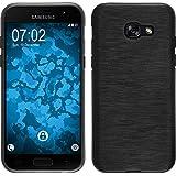 PhoneNatic Case für Samsung Galaxy A3 2017 Hülle Silikon silber brushed Cover Galaxy A3 2017 Tasche + 2 Schutzfolien
