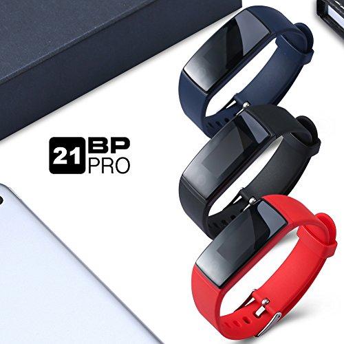 Aupalla 21BP Pro Fitness-Armband, Blutdruck, Herzfrequenz, große Farbanzeige, Schrittzähler, Kalorienzähler, Schlafüberwachung, GPS, Stoppuhr, unterstützt nur Android-Smartphones und iPhone, Schwarz