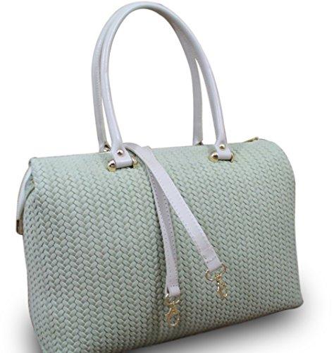 Made in italy sac à main pour femme en cuir beige hobo cube effet tressé