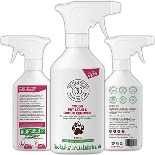 C&G Pets - Détachant anti-taches et odeurs pour animaux de compagnie -500ml- Formule végétale - Enzymes naturels - Anti-bactérien - Prévient les marques - Détruit les taches organiques