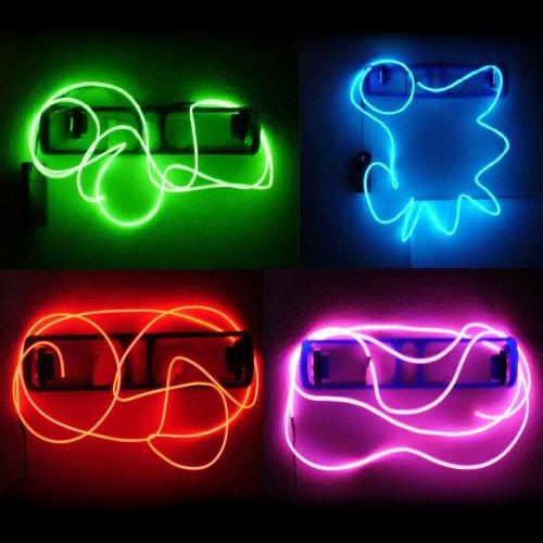 SODIAL(R) Cable Neon Brillante Efecto Estroboscopico Electroluminiscente (Cable EL) - Verde, Azul, Rojo & Rosa