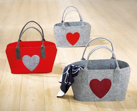 1 x Tasche Herz Breite 46 cm Filztasche Einkaufstasche Shoppingtasche Tragetasche (rote Tasche m. grauem Herz (links)) (Rote Tragetasche)