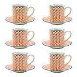Espressotasse mit Untertasse - gemustert - 65 ml - Orangefarbener/blauer Print - 6 Stück