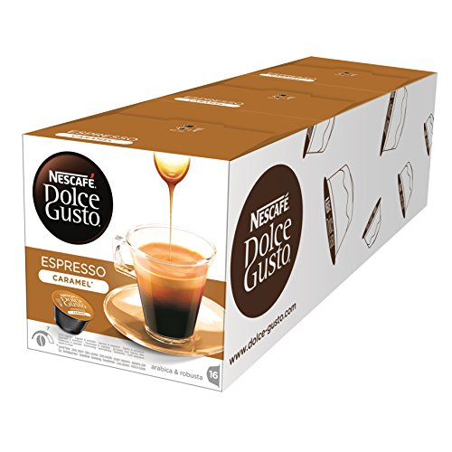Shop for Nescafe Dolce Gusto Espresso Caramel Coffee, Pack of 3 (Total 48 Capsules, 48 servings) by Nestle UK