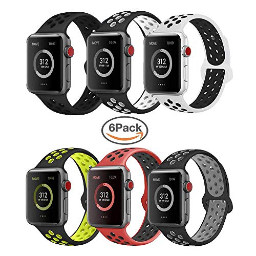 VIKATECH pour Bracelet Apple Watch 42mm(44mm Series 4), Engrener Bracelet Sport Doux in Silicone Remplacement pour Apple Watch Serie 4/3/2/1, Taille M/L, 6 Pack B
