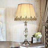 CJH Französisch Luxus Prinzessin Crystal Lamp Home Wohnzimmer Auge Romantische warme Lampe Schlafzimmer Nachttischlampe Gelb