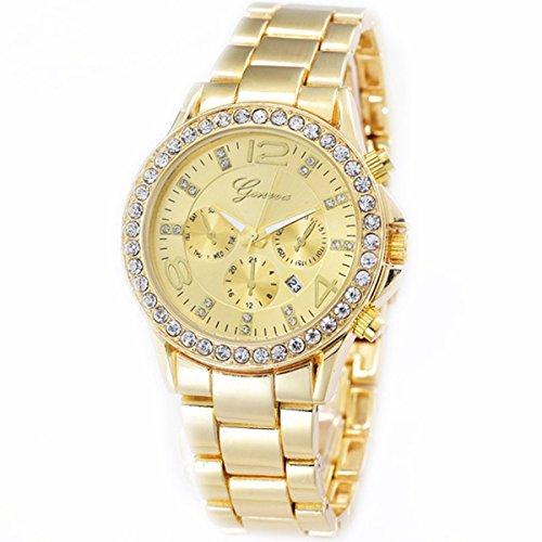 XLORDX Geneva Designer Datum Strass Damenuhr Gold Uhr Chronograph Optik Gold Strassuhr