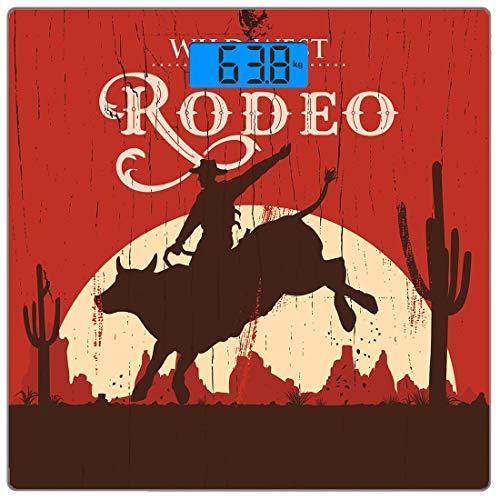 Präzisions-Digital-Körpergewicht-Waage Vintage Ultra Slim-Gehärtetes Glas-Personenwaage Genaue Gewichtsmessungen, Rodeo-Cowboy Riding Bull-Holz-Altschild Wildnis im westlichen Stil bei Sonnenuntergang