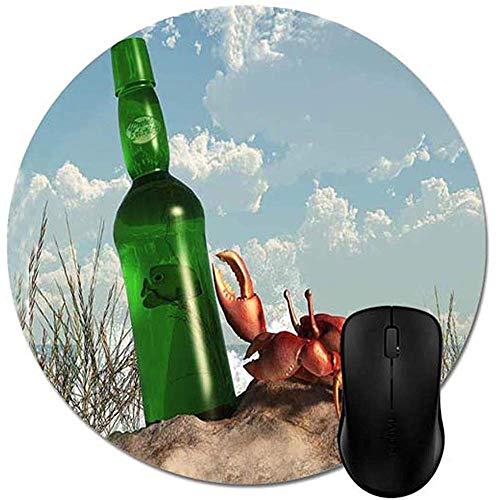 Runde Mausunterlage-Krabbe mit Flasche auf dem Strand Mousepad, natürliches Öko-Gummi-haltbares Computer-Schreibtisch-Büro-Zubehör