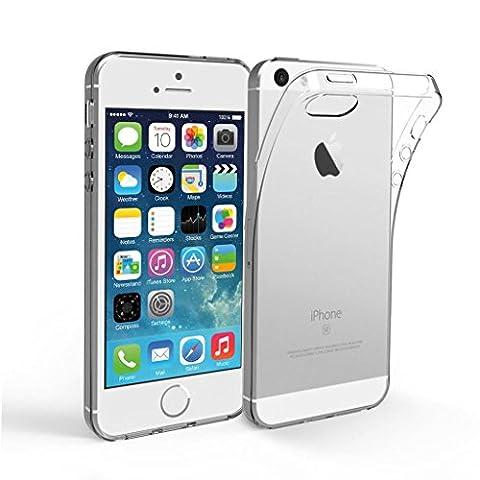 Coque pour iphone 5 5S SE, Leathlux Transparent Souple TPU Étui Protection Bumper Housse Clair Doux Silicone Gel Ultra Mince Case Cover pour Apple iphone 5 5S SE 4.0