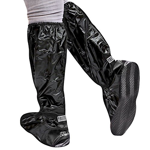 Cubrecalzado Impermeable de PVC - Resistente y Reutilizable - con Suela Antideslizante - galochas para Lluvia, Nieve y Fango - Modelo Alto - Negro (M (40-42), Negro)