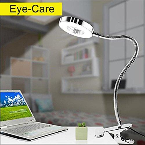Lámpara flexo con pinza luz de escritorio, Protección ocular, Funciona con USB, Se puede girar por 360 grados, Lámpara de mesa-Blanco frío y cálido, 6W Entrada 86-265V, Sin adaptador (plateado)