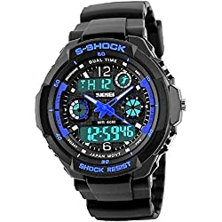 QBD Men's Boy's Analogue Digital 50M Waterproof Military Sport Watch Mens Big Face Dual Dial Business Casual Multifunction LCD Back Light Electronic Wrist Watches Shock Resistant Wristwatch (Blue)