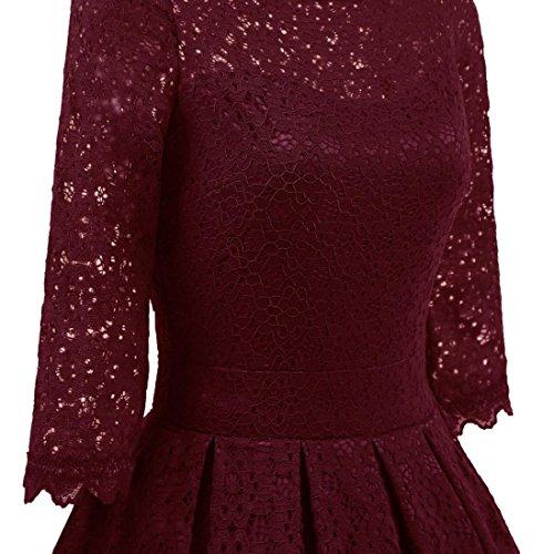 Robe de soirée, Vintage rétro Dentelle imprimée Fleurs Manche longue/5 points Sexy robe de soirée décontractée cocktail Rouge