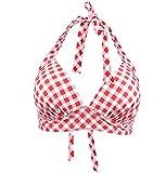 Viloree Vintage 1950's Rockabilly Damen Frauen Bikini Oberteile Push Up Neckholder Bügellos Rot & Weiss Kariert L