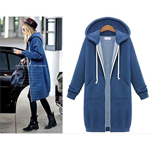 GWELL Sweatshirt Sweat à Capuche Veste Manteau Femme Uni Décontracté Hoodie Manche Longue Zip Blouson Outwear Mode Bleu