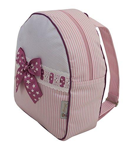 1d24b8175 Mochila o bolsa infantil lencera personalizada con nombre en plastificado  de rayas.