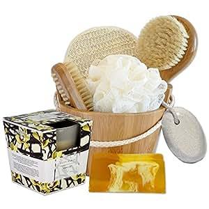Handverpacktes Wellness Geschenk-Set Vanille Entspannung inklusive Vanilleseife sowie Duftkerze und Massagezubehör