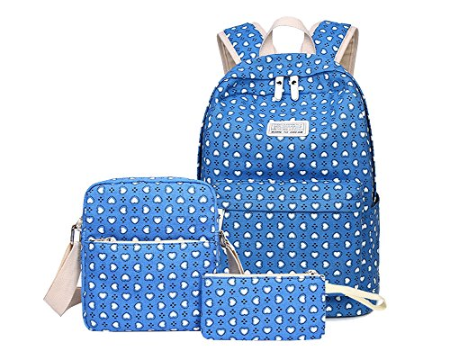 Schulrucksack Mädchen Segeltuch Rucksack Schultasche Schulranzen-Set Blu zaffiro (Blu-ranzen)