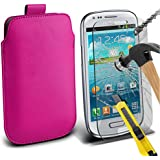 Fone-Case ( Hot Pink ) Samsung galaxy S3 Mini Hülle Abdeckung Cover Case schutzhülle Tasche Brand New Luxury Faux PU-Leder Pull Tab-Beutel-Haut-Kasten-Abdeckung mit gehärtetem Glas Crystal Clear LCD Display-Schutzfolien