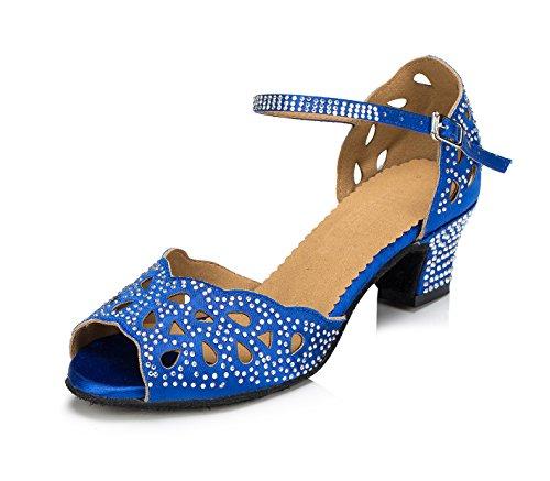 Honeystore Neuheiten Frauen's Satin Strass Heels Absatzschuhe Moderne Latein-Schuhe mit Knöchelriemen Tanzschuhe LD065 Blau 38 CN