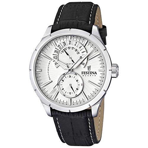 Festina Leder Herren Uhr F16573/1 Quarz Armbanduhr schwarz Klassik D1UF16573/1