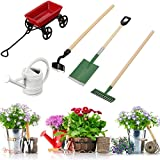Aissimio Miniature Dollhouse Set Of 3 Pieces Garden Tools +Tin Metal Watering Can +Metal red cart doll Gardening Equipment Fairy Garden Accessories
