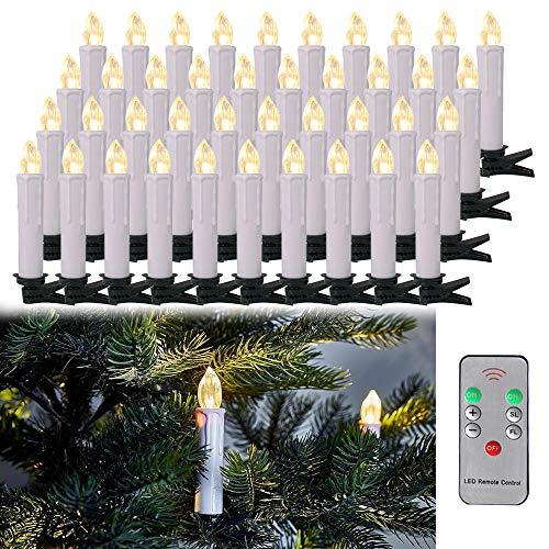LARS360 LED Kerzen Christbaumkerzen mit Fernbedienung und AA Akku Weihnachts Kerzen Kabellos Flammenlose Lichterkette Kerzen für Weihnachtsbaum Weihnachtsdeko Feiertag - 40er Warmweiß Weihnachtskerzen