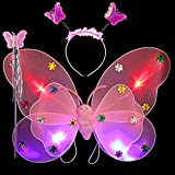 #1: Wobbox Girls LED Flashing light Butterfly Wings, Fairy Wings, And Angel Wings For Kids. For Garden Parties, Birthday parties and much more. 3 piece set double layer (Pink)